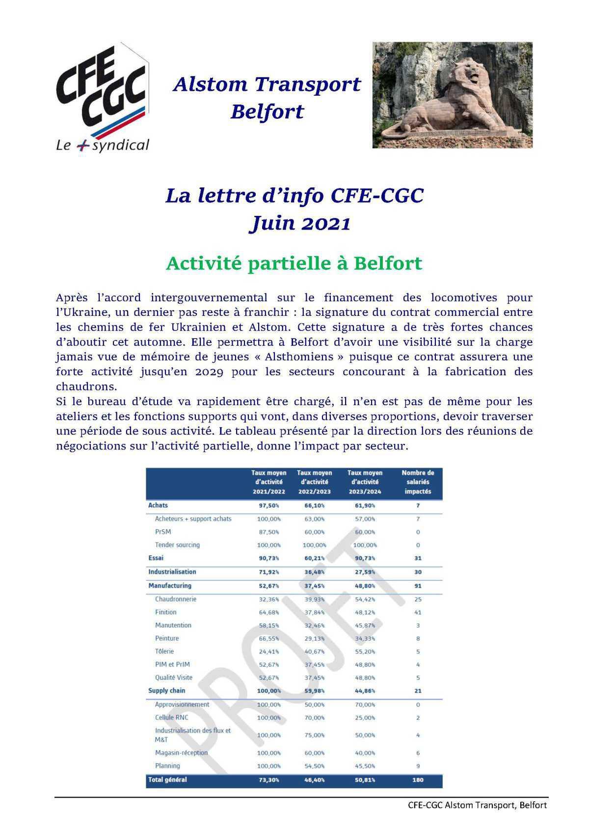 Lettre d'info Alstom Transport Belfort Juin 2021