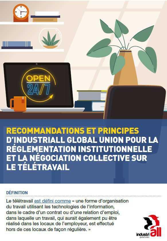Principes et lignes directrices d'IndustriALL sur le télétravail