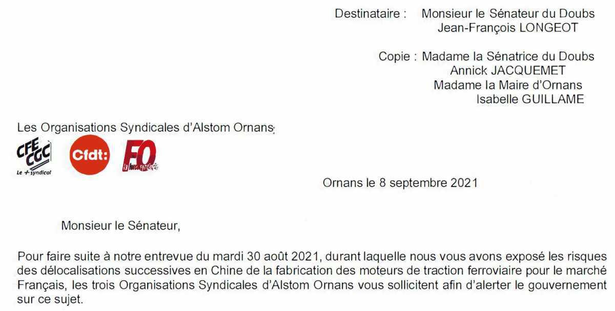 Alstom Ornans : risque de délocalisation