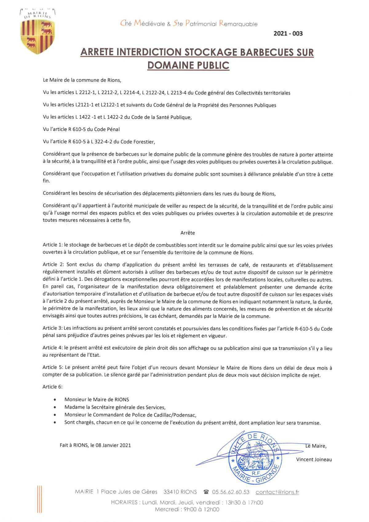 Arrêtés municipaux et/ou préfectoraux