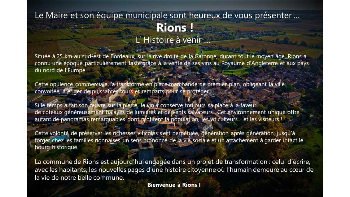 Bienvenue à Rions !