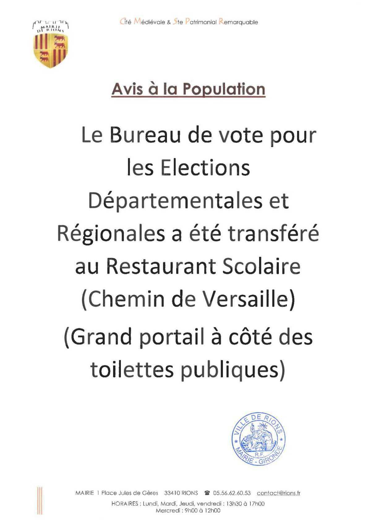 Changement de localisation du bureau de vote