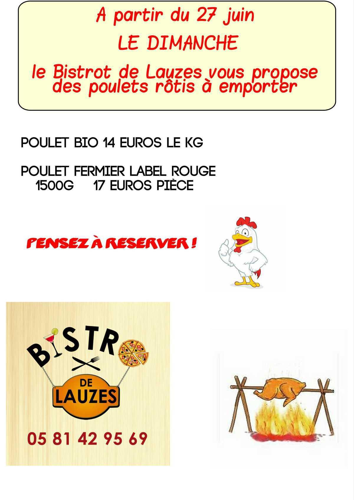 Les menus du Bistrot