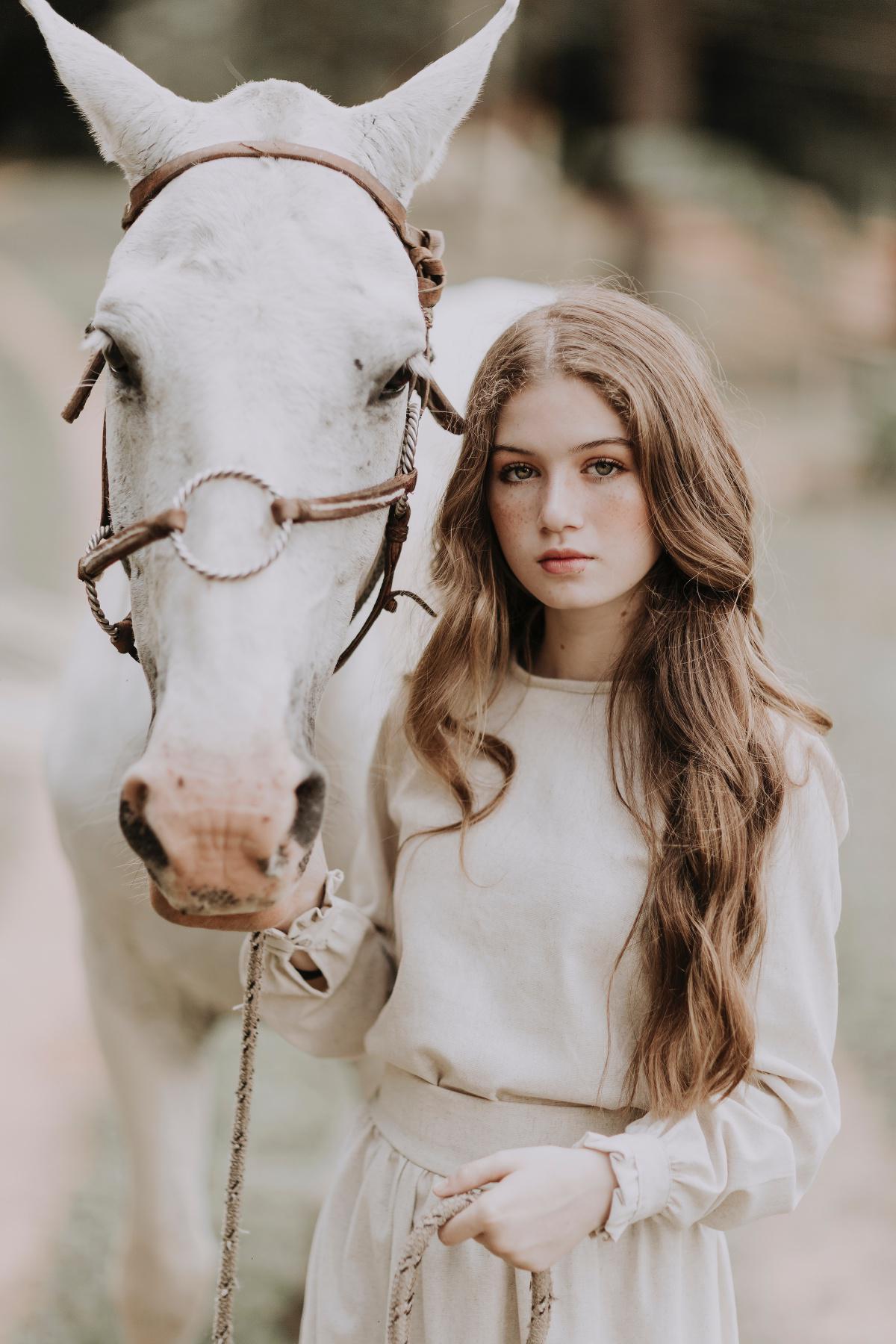 Pferd, Bambus und Wind