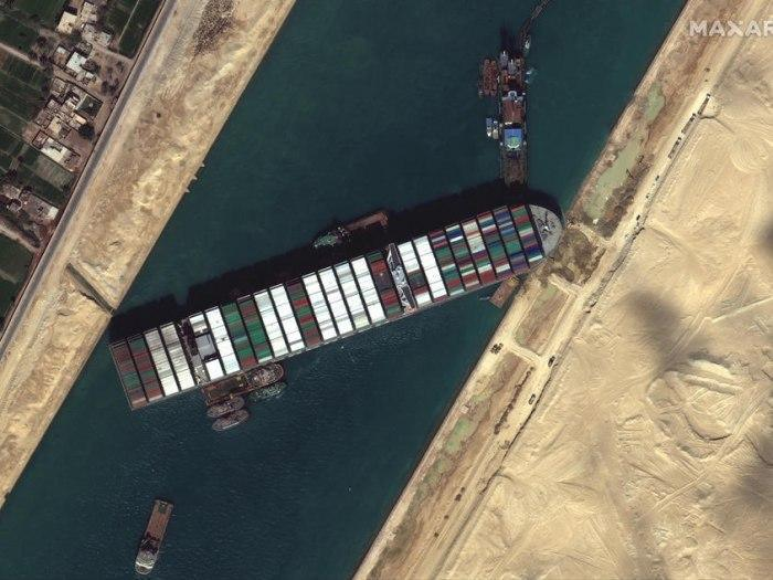 Stranded Suez container ship 'partially refloated'