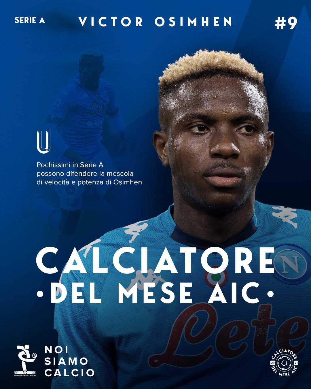 Calciatore del mese AIC settembre '21 Serie A, Victor Osimhen