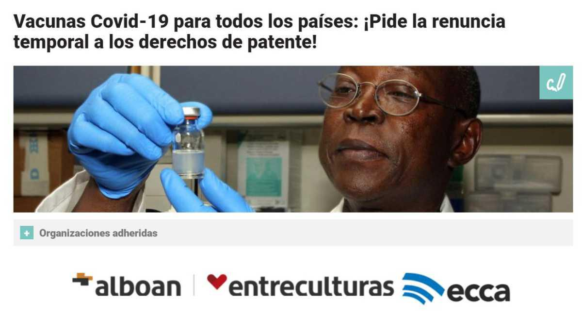 Vacunas: petición de renuncia a los derechos de patente