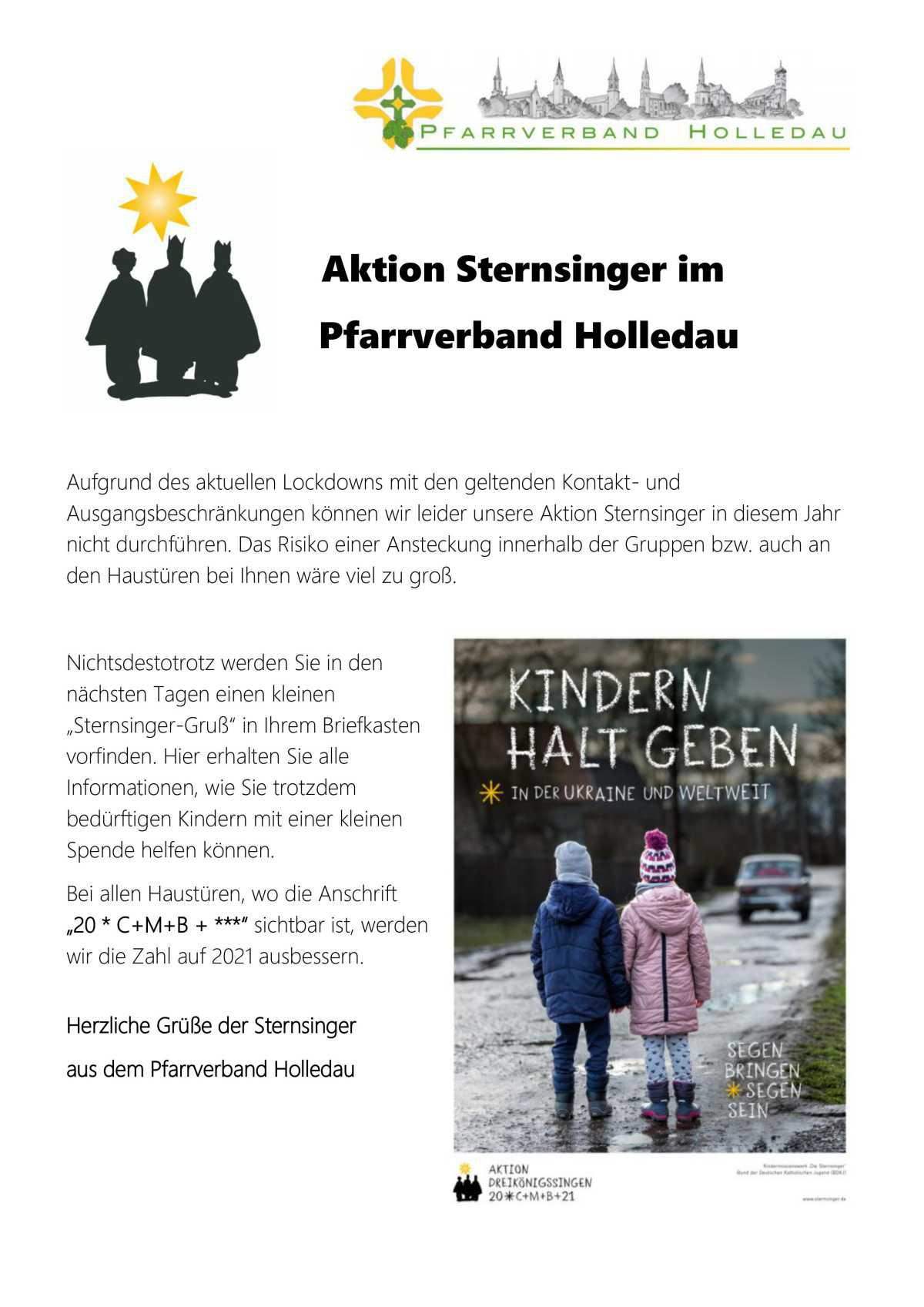 Aktion Sternsinger im Pfarrverband Holledau
