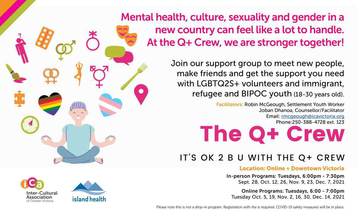 LGBTQ2S+ Support Group for BIPOC/Newcomer Youth (18-24) in Victoria