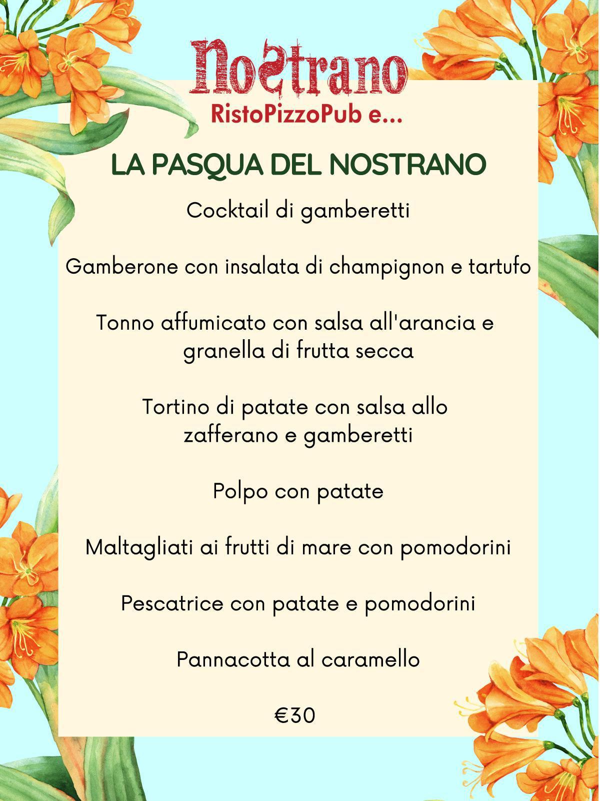 I nostri menù per Pasqua e Pasquetta.