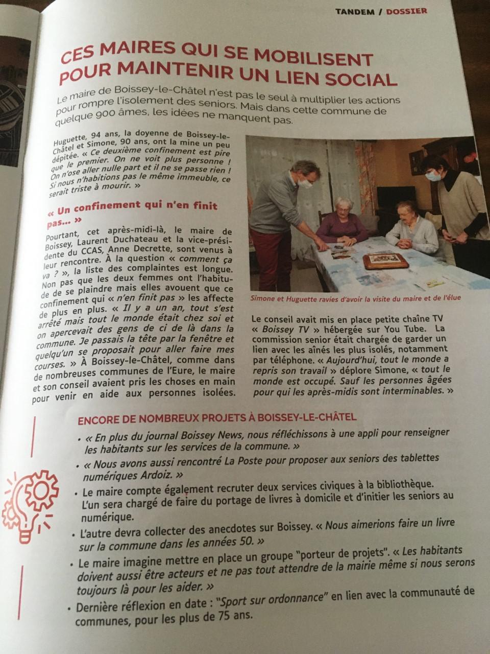 Article de Presse du Journal Tandem