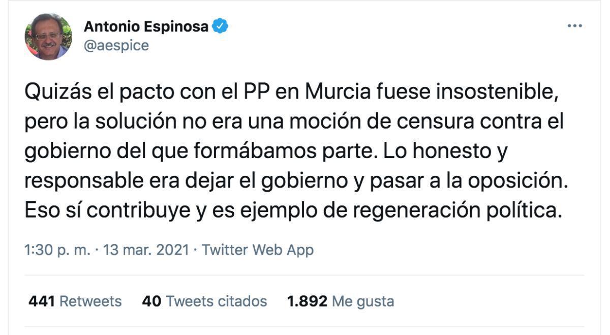 Murcia. La solución no era una moción de censura.