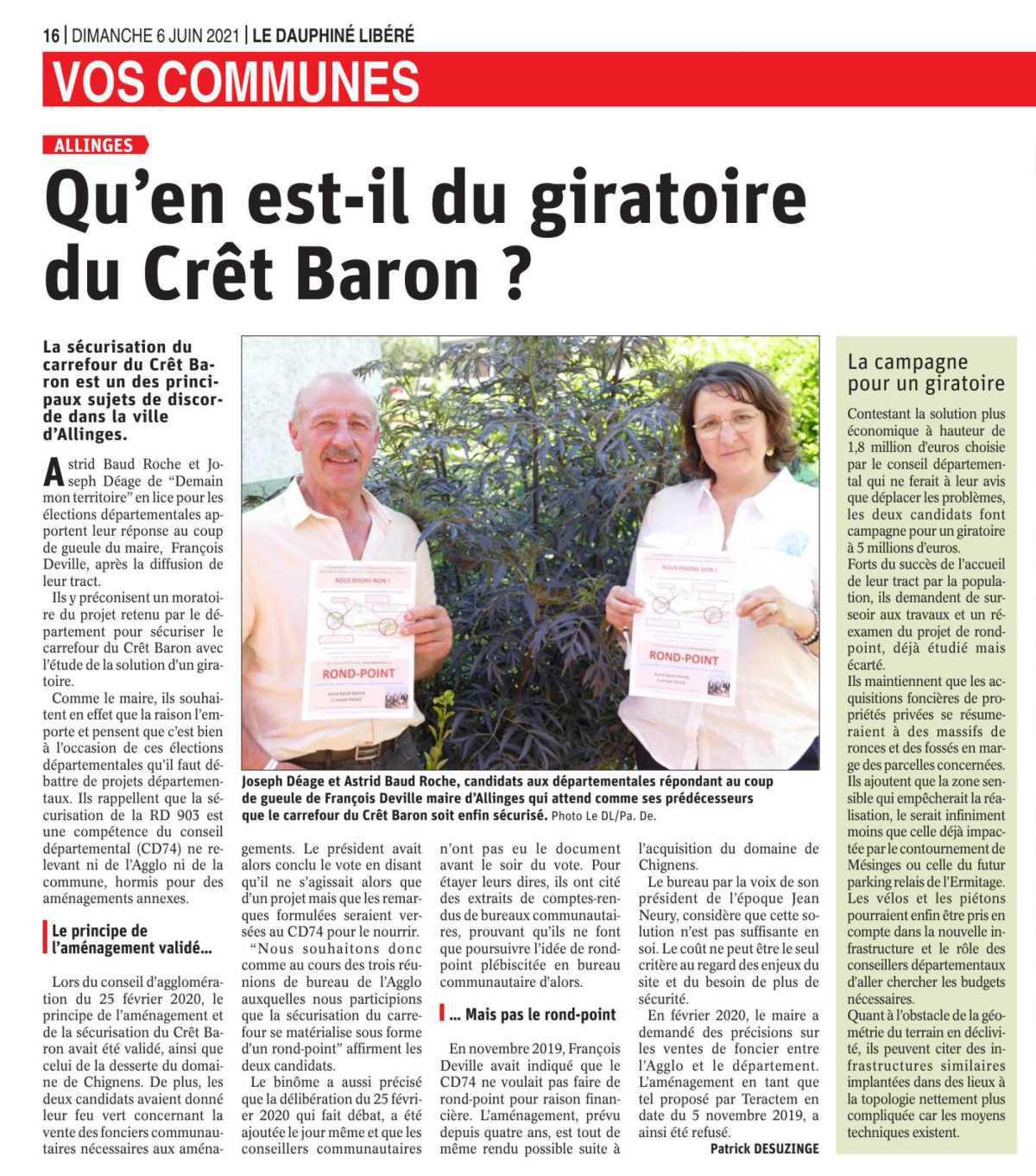 Un rond-point au Crêt Baron !