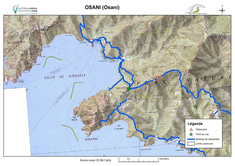 Carte Corse Osani.Osani Osani