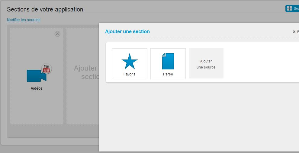 Votre playlist apparaît ensuite comme section de votre appli. Vous pouvez ajouter une section et paramétrer une autre playlist.