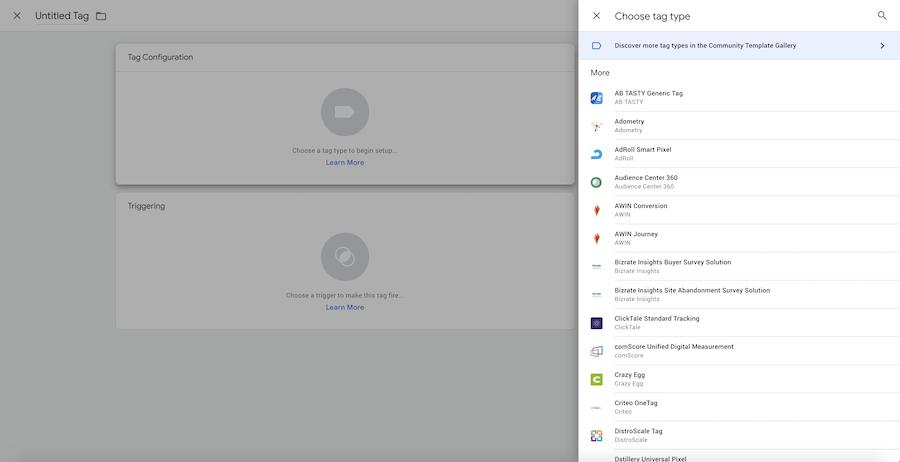 Aperçu des balises disponibles par défaut dans Google Tag Manager