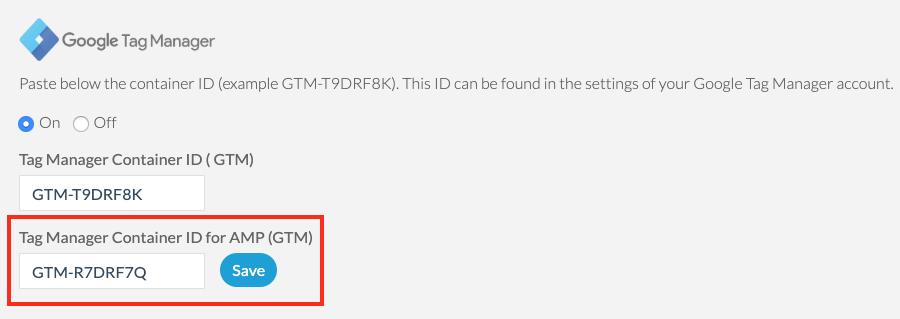 Ajout de l'ID du conteneur GTM dédié à AMP