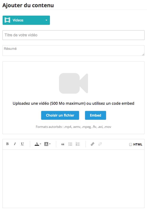 Comment créer une section photo, article et/ou vidéo sans une source externe ?