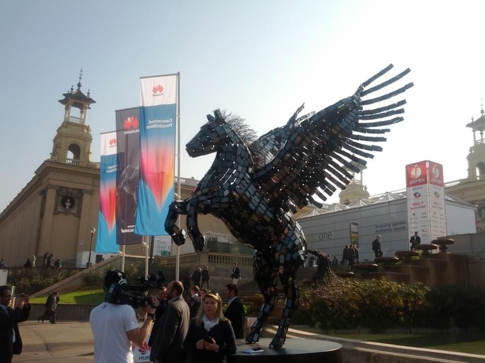 The Huawei Ascend statue