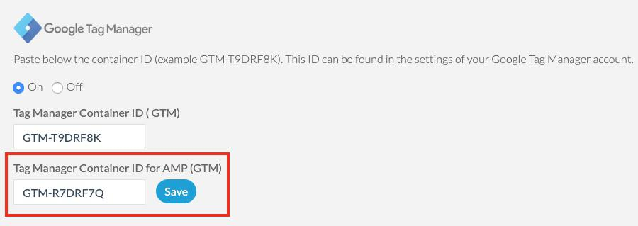 Add ID of GMT container dedicated to AMP