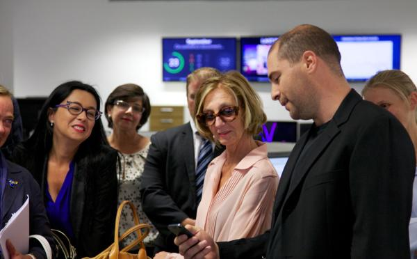 Mrs. Nicole Bricq, french foreign trade minister visiting CampusPlex, home of the GoodBarbers