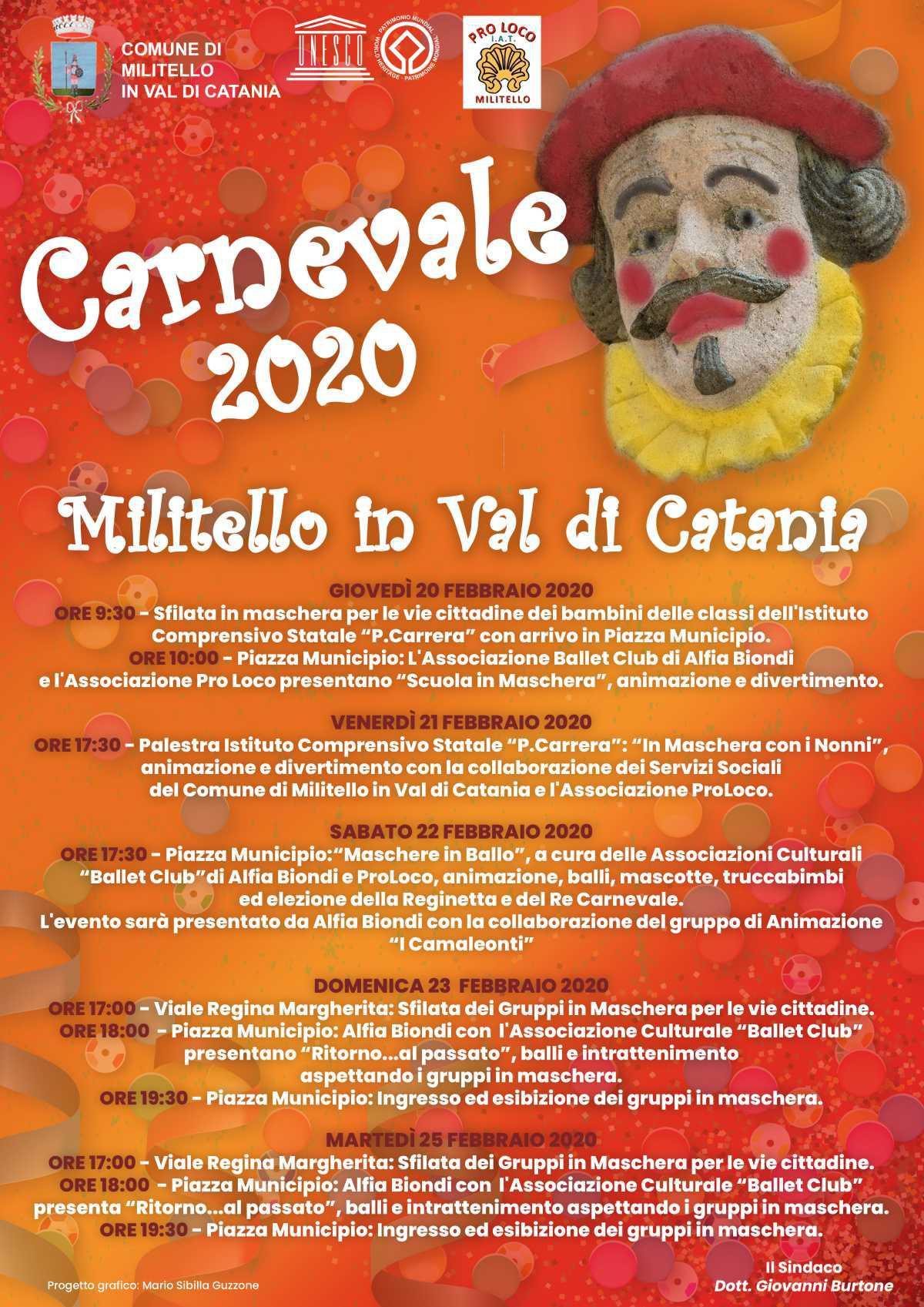 Carnevale 2020 a Militello in Val di Catania Programma degli Eventi