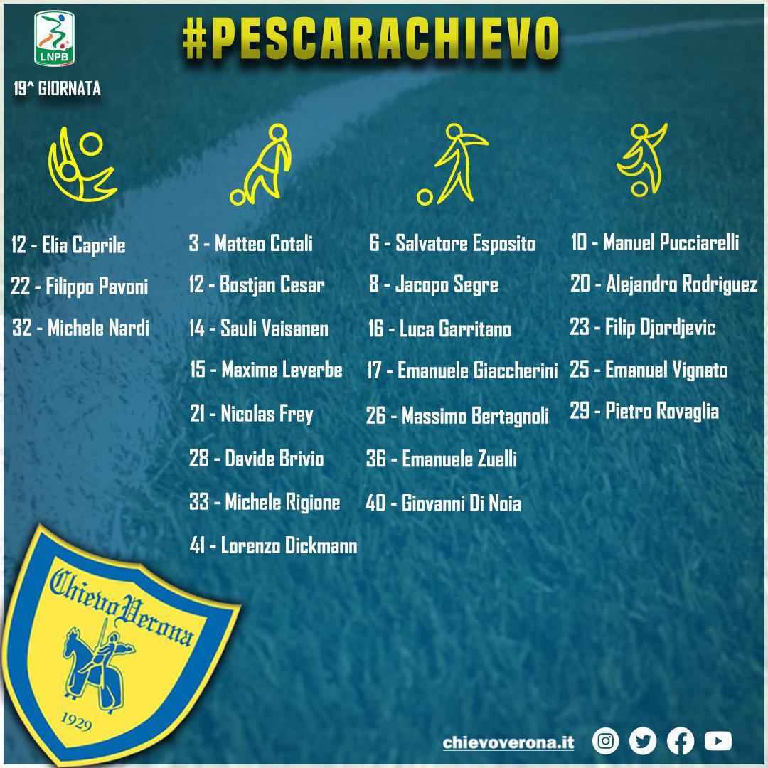 #PescaraChievo: i 23 convocati