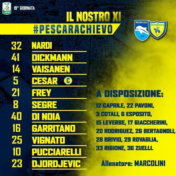 #PescaraChievo: le formazioni ufficiali