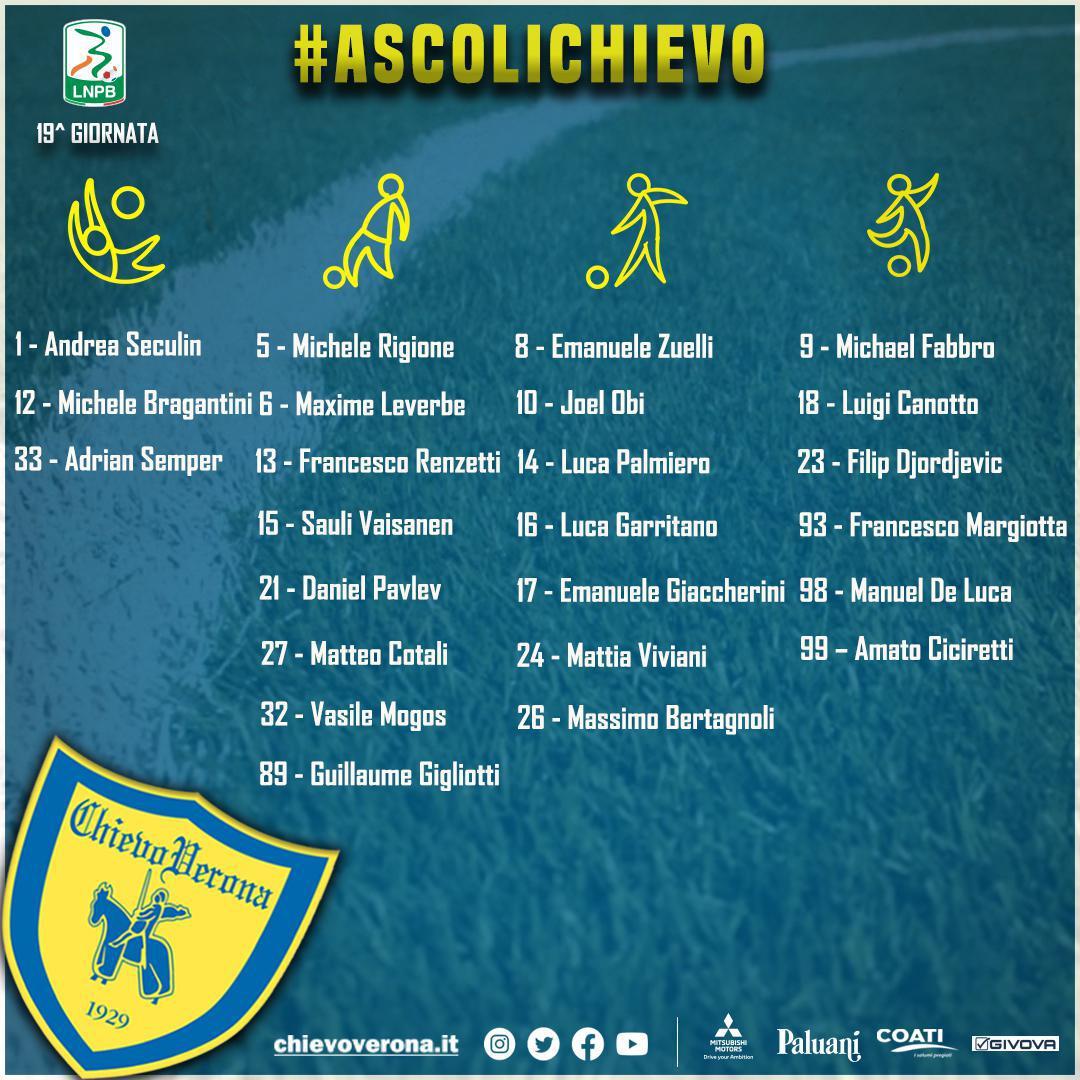 #AscoliChievo: i 24 convocati