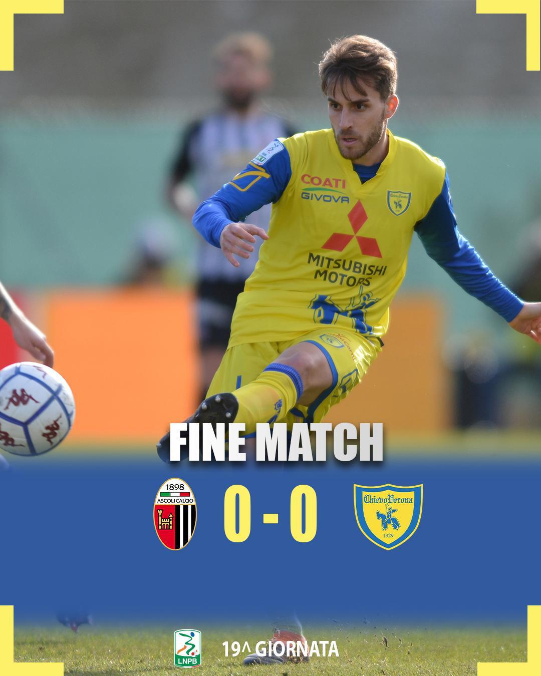 #AscoliChievo 0-0: il tabellino del match
