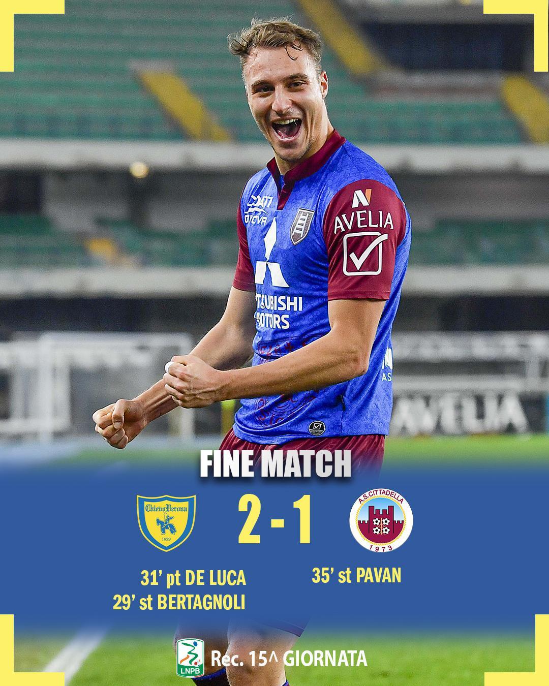 #ChievoCittadella 2-1: il tabellino del match