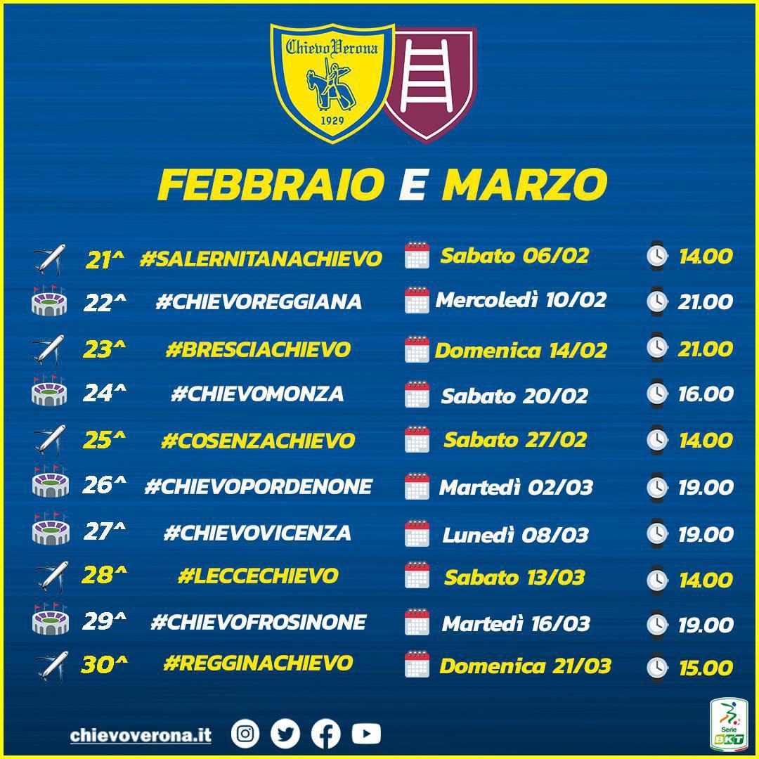 Giorni e orari delle partite dei gialloblù dalla 24^ alla 30^ Giornata