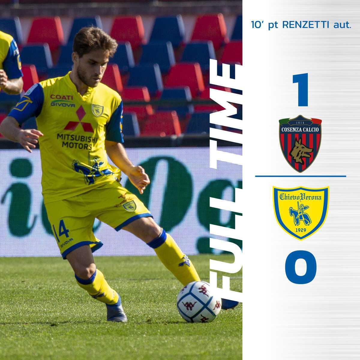 #CosenzaChievo 1-0: il tabellino del match