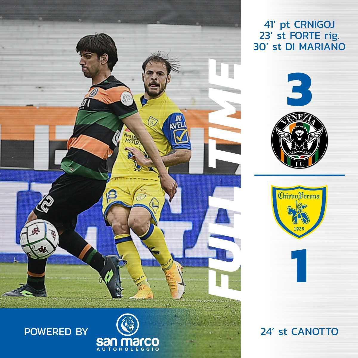 #VeneziaChievo 3-1: il tabellino del match