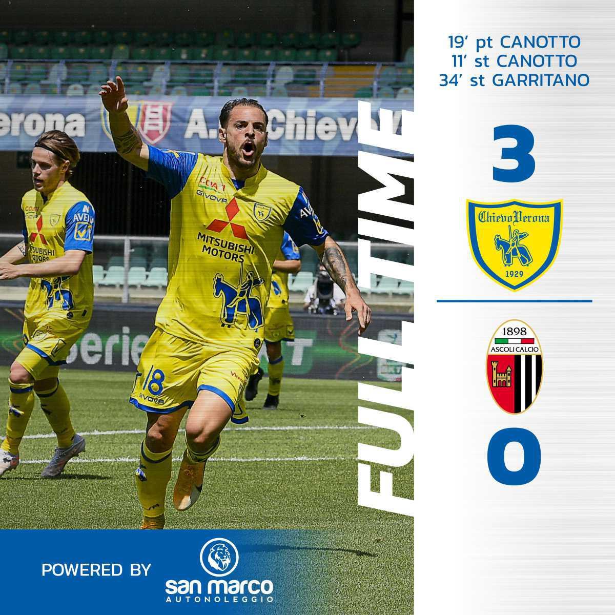 #ChievoAscoli 3-0: il tabellino del match