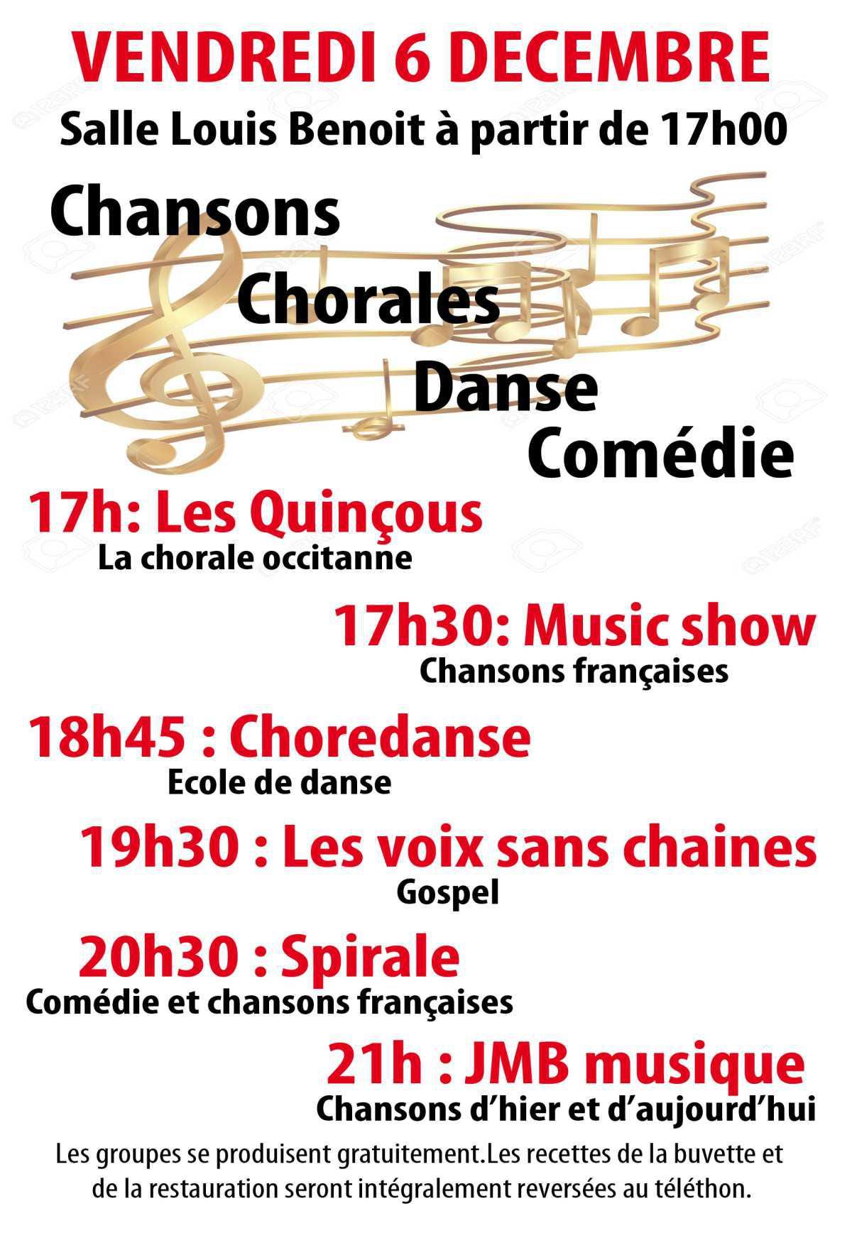 Programme du téléthon du 6, 7 et 8 décembre 2019 à Saint Hilaire de Brethmas.