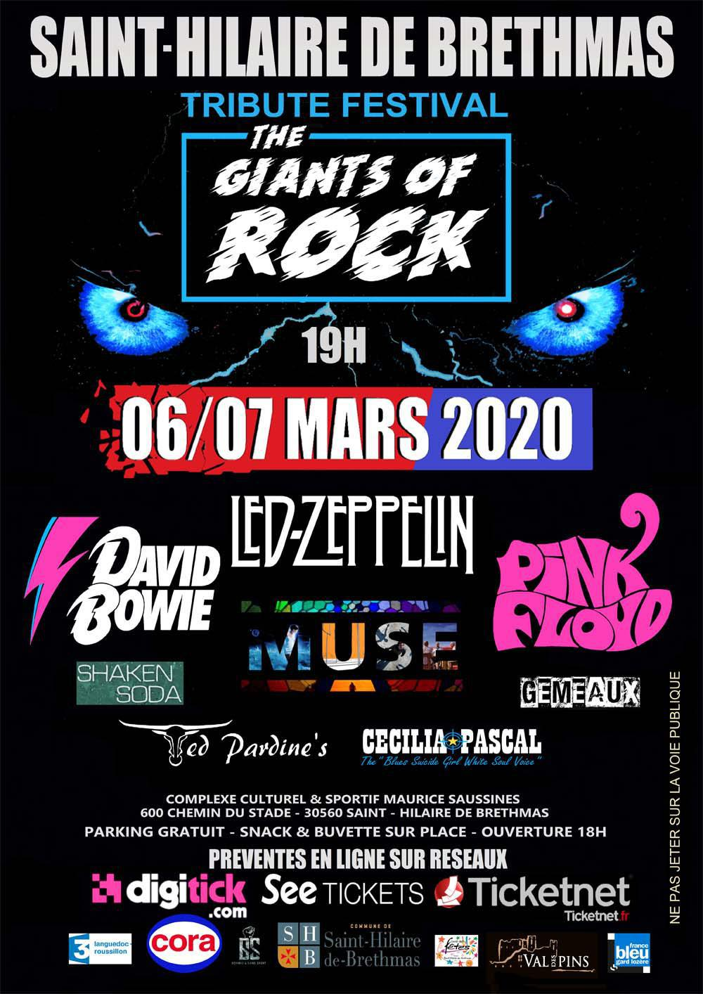 TRIBUTE FESTIVAL 2020 '' THE GIANTS OF ROCK '' 3 ème Edition Saint-Hilaire de Brethmas .