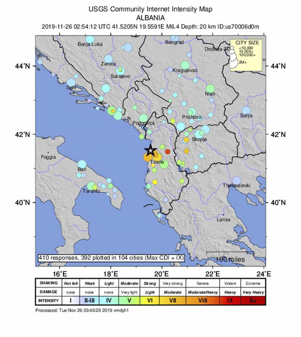 Séisme dans les Balkans