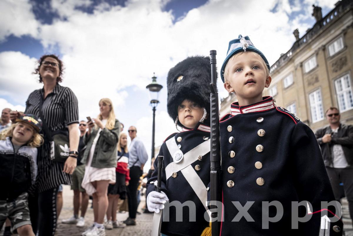 Twin dressed as the Danish Queen Margrethe's Royal Life Guards