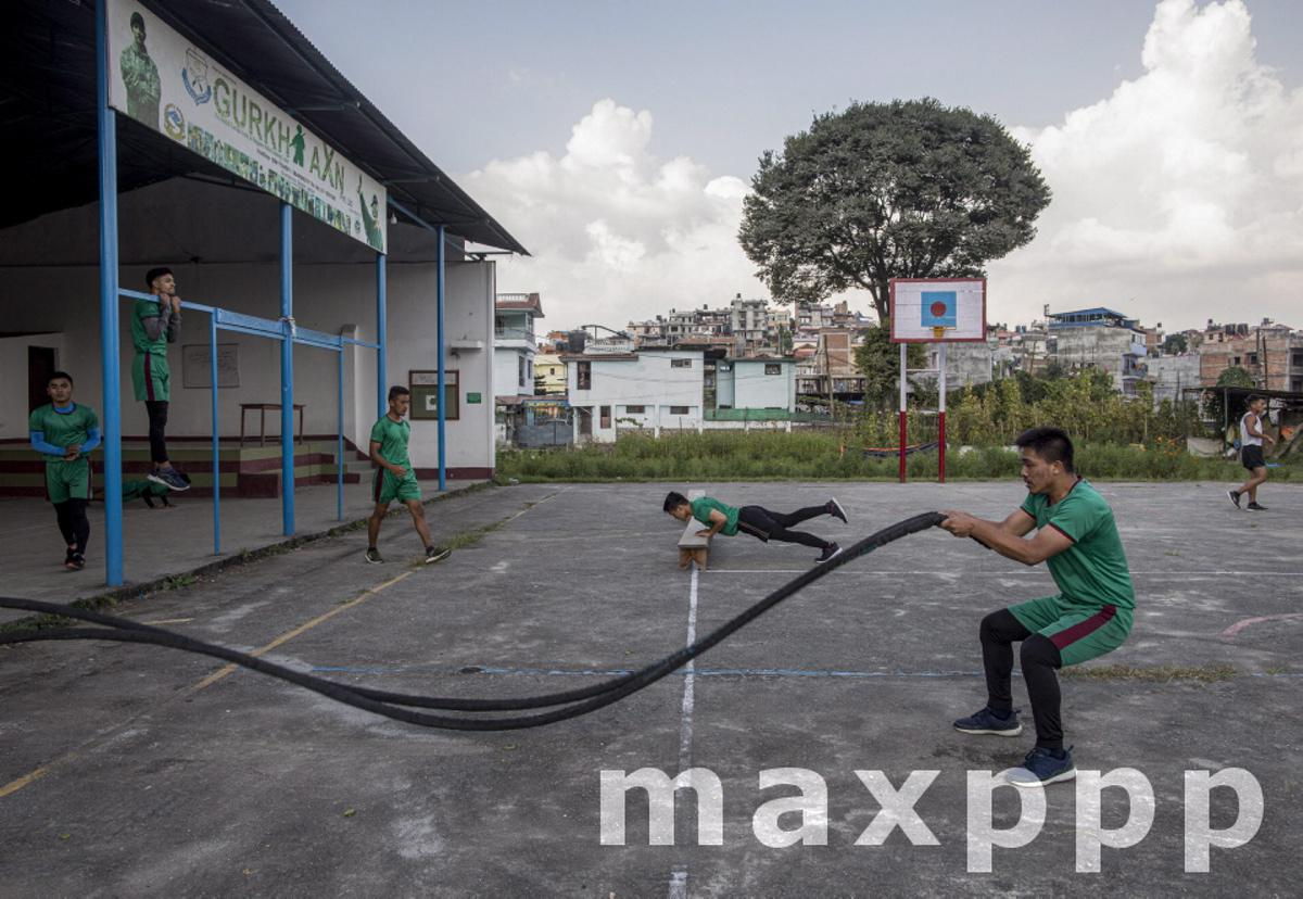 Nepalese youths attend physical training session at Gurkha AXN