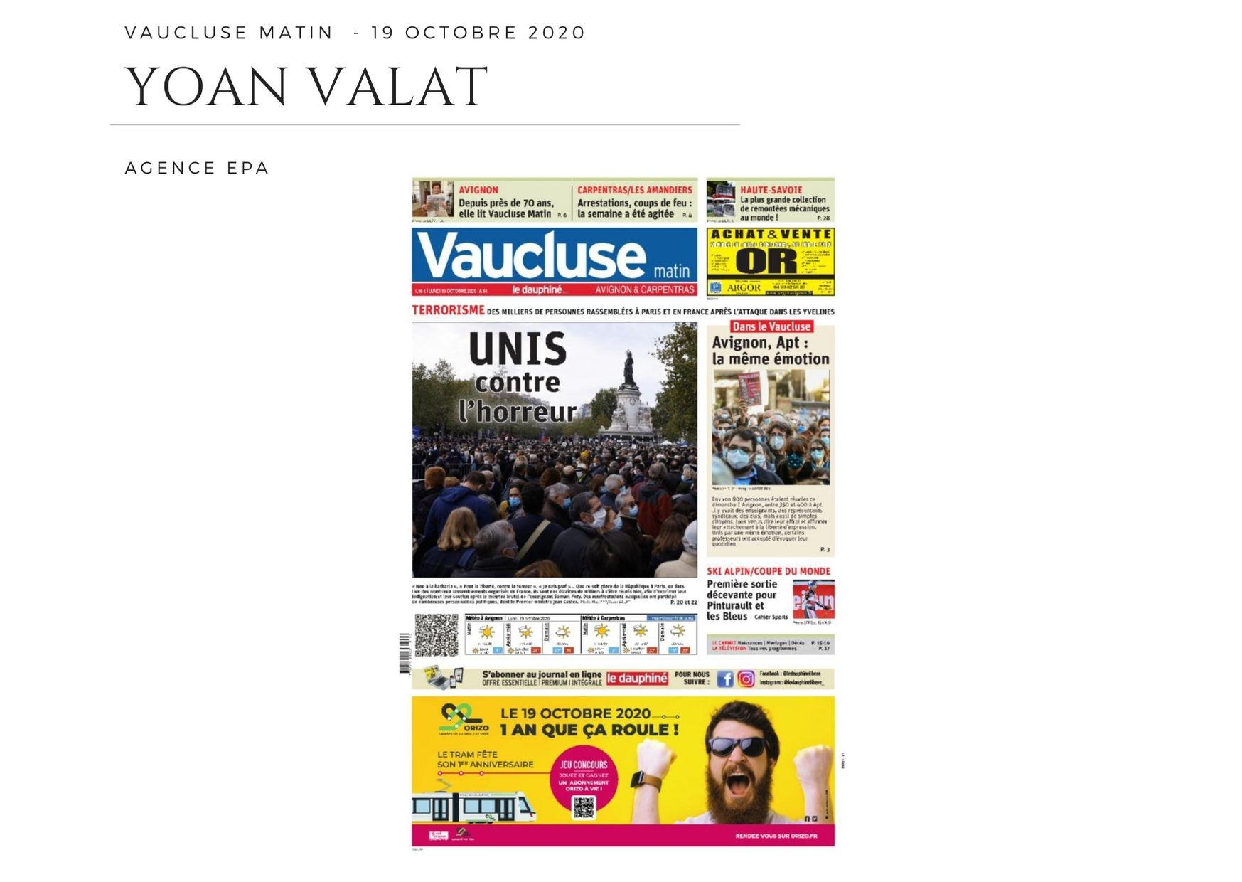 Vaucluse Matin - 19 octobre 2020