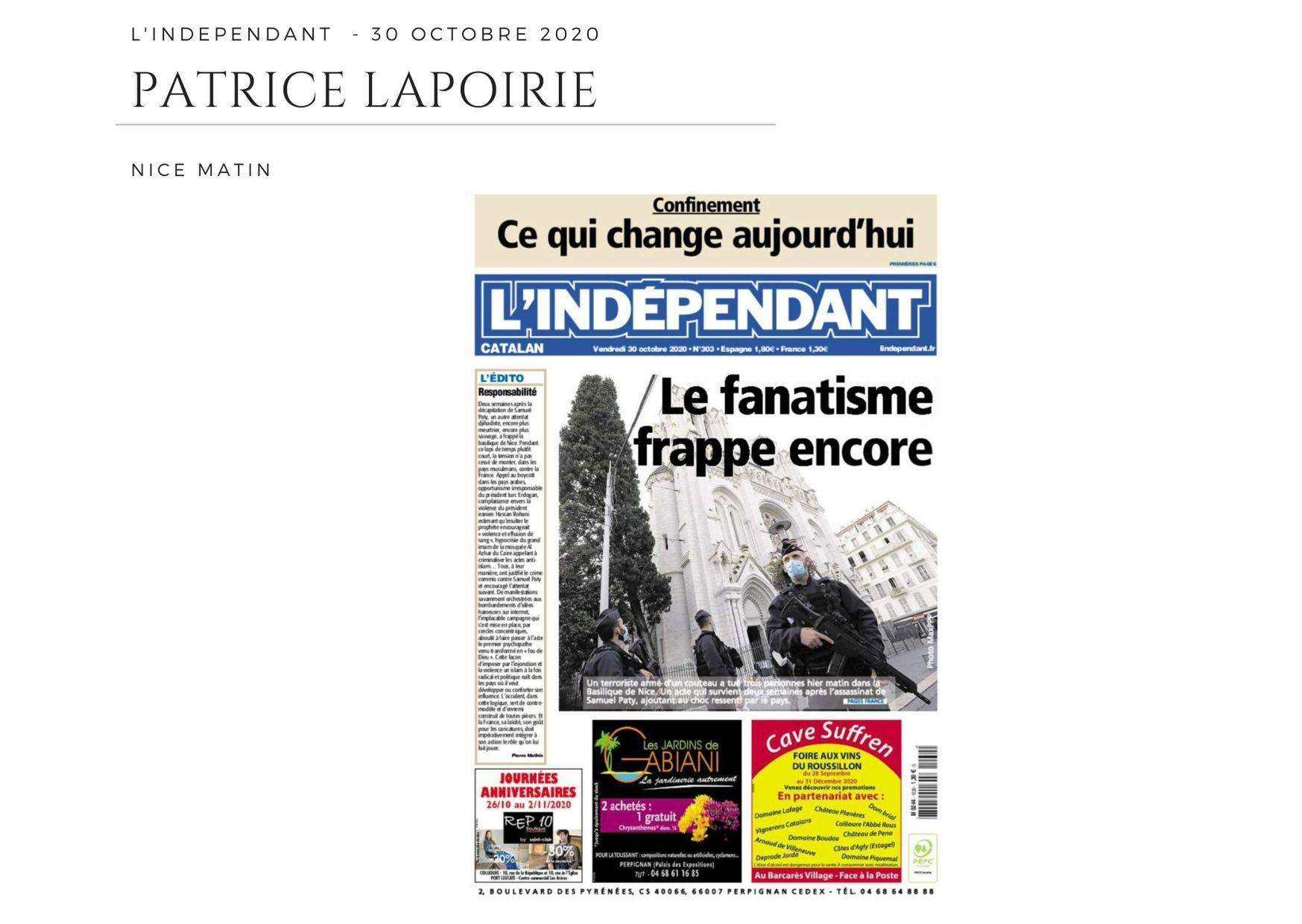 L'Indépendant - 30 octobre 2020