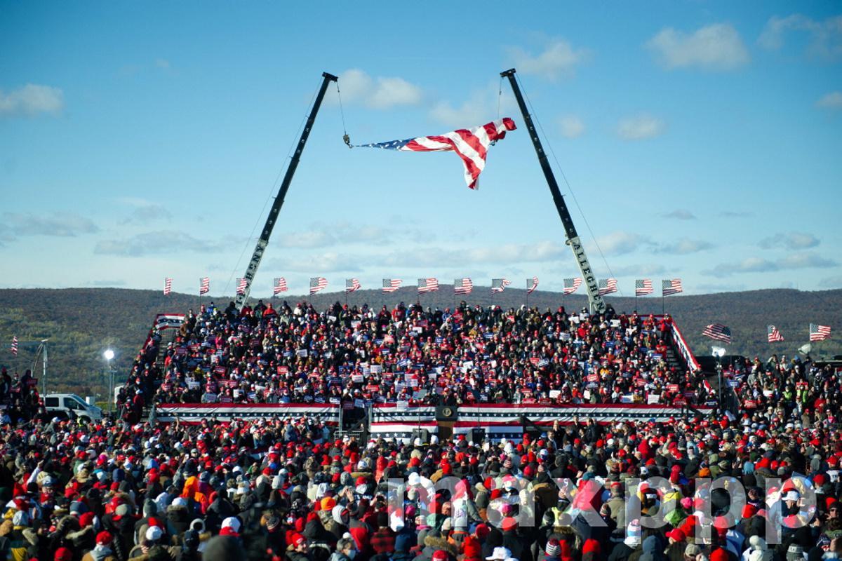 US President Donald J. Trump speaks at a rally in Scranton, Pennsylvania