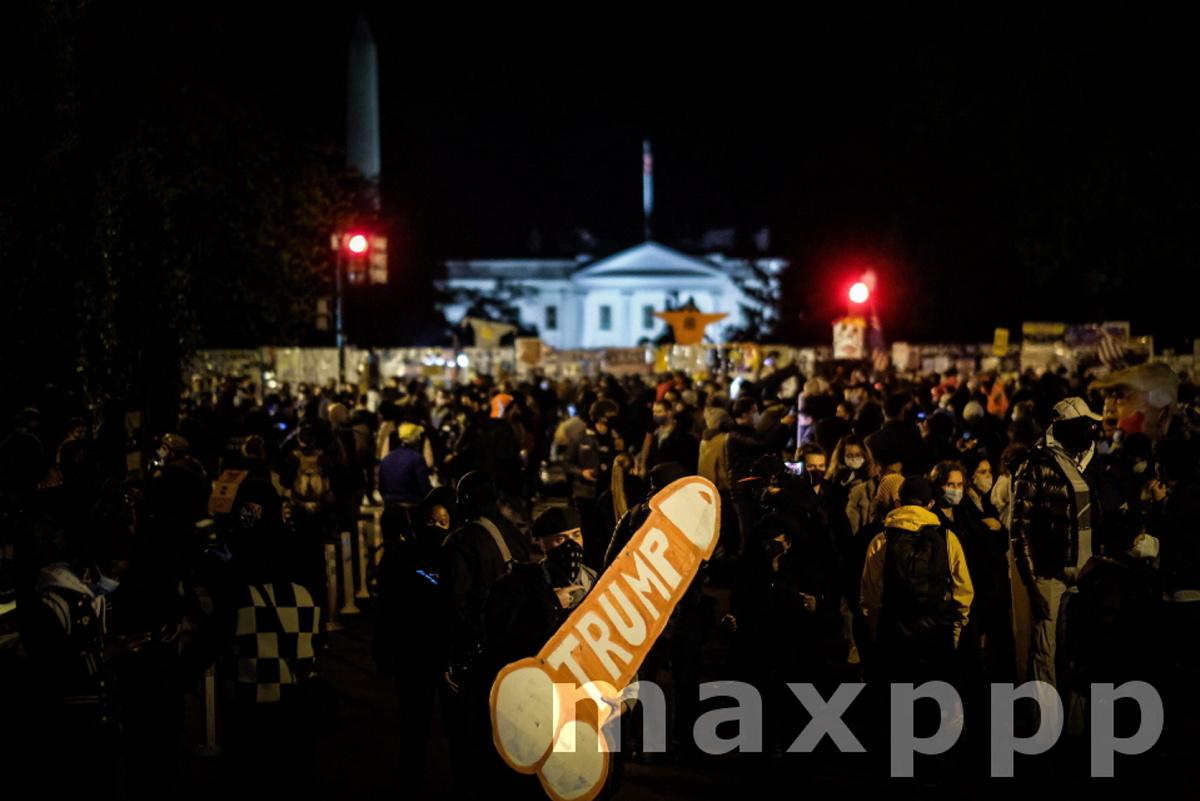 People protest outside the White House during election night