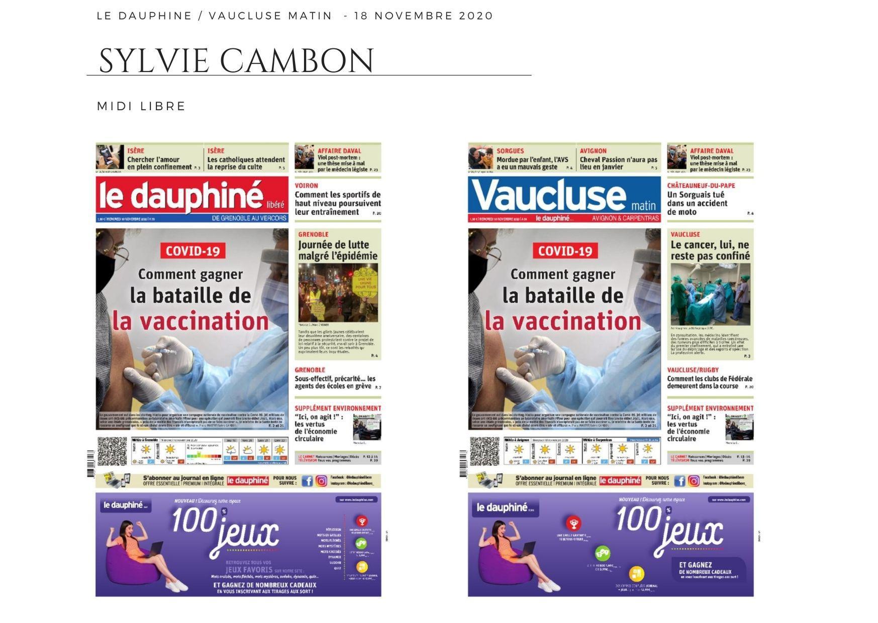 Le Dauphiné - Vaucluse Matin - 18 novembre 2020