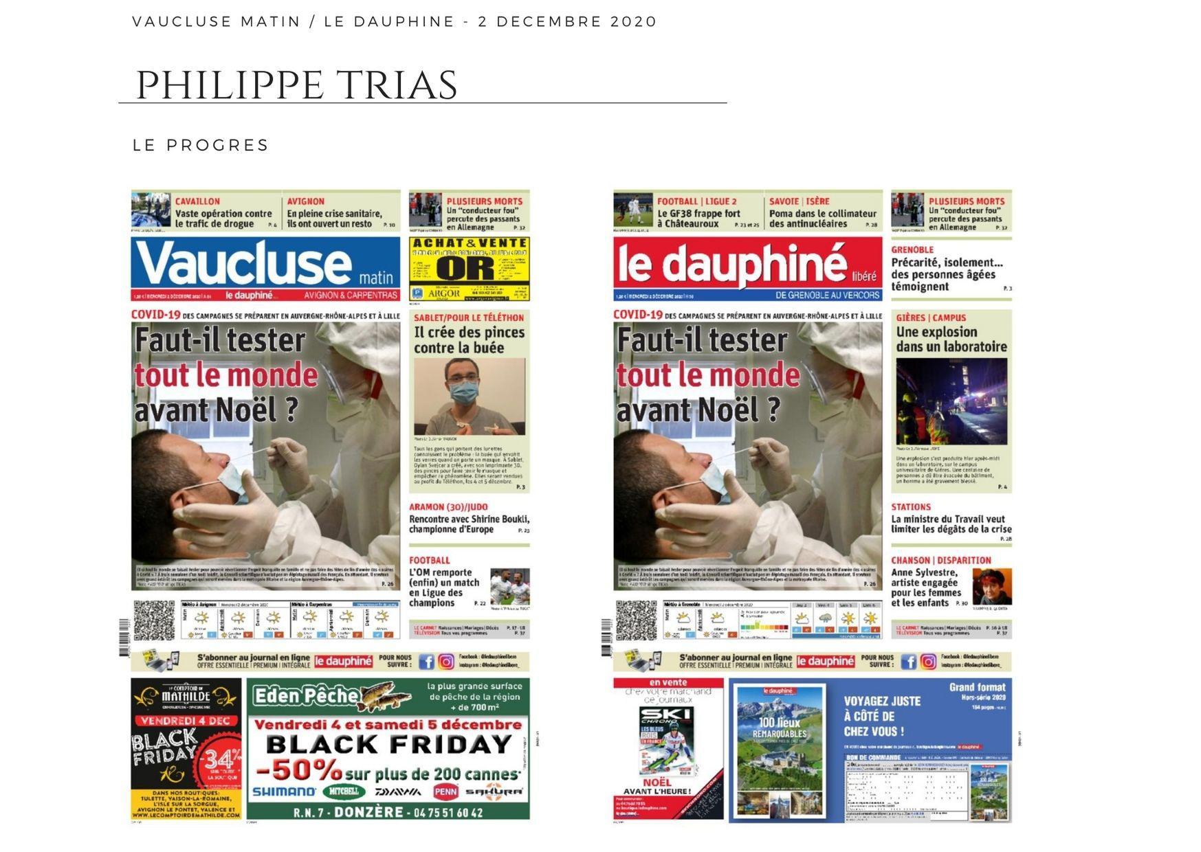Le Dauphiné Libéré / Vaucluse Matin - 2 décembre 2020