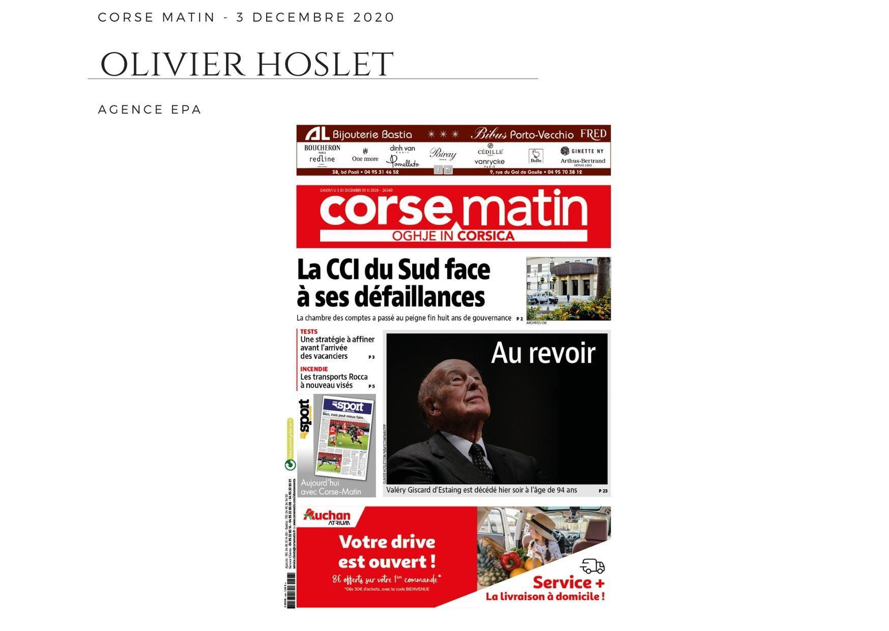 Corse Matin - 3 décembre 2020