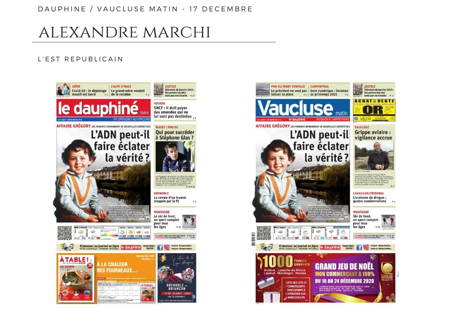 Le Dauphiné Libéré - Vaucluse Matin - 17 décembre 2020