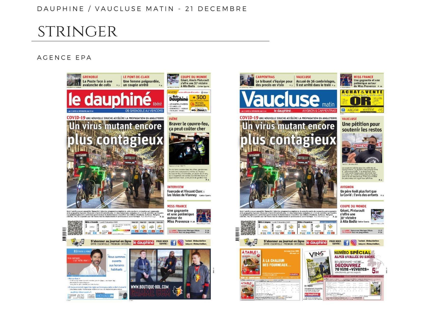 La Dauphiné Libéré / Vaucluse Matin - 21 décembre 2020
