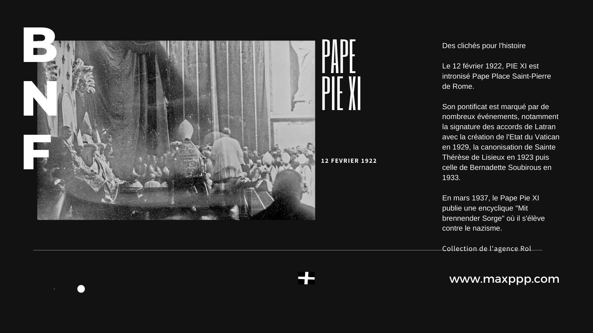 Intronisation Pape Pie XI